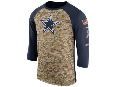 Dallas Cowboys Nike 2017 NFL Men's Salute To Service 3/4 Sleeve Raglan T-Shirt
