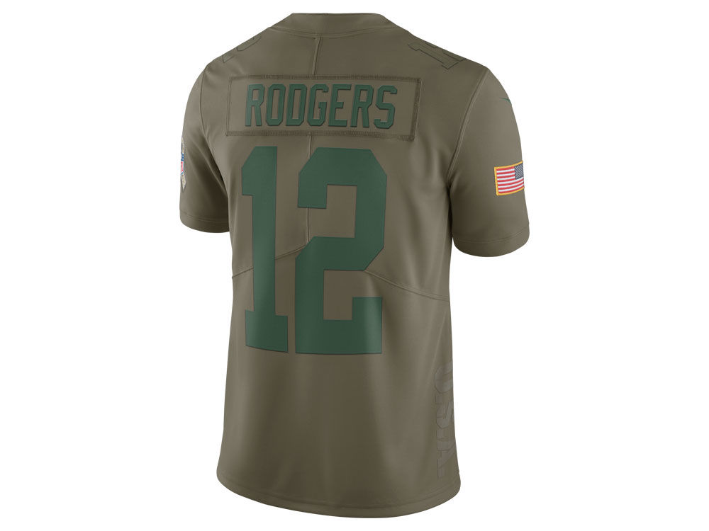 d57d222a6 ... Green Bay Packers Aaron Rodgers Nike 2017 NFL Mens Salute To Service Jersey  Nike Green Bay Packers 87 Jordy Nelson Black Impact Limited Kids ...