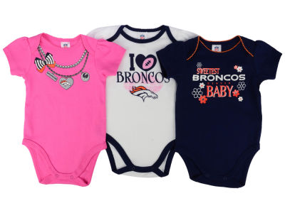 Denver Broncos Gerber NFL Newborn Girls 3Pk Bodysuit