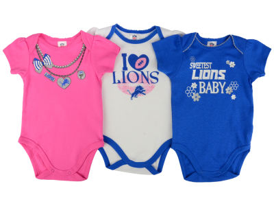 Detroit Lions NFL Newborn Girls 3Pk Bodysuit