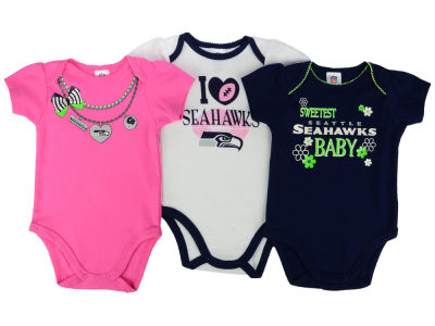 Seattle Seahawks Gerber NFL Newborn Girls 3Pk Bodysuit