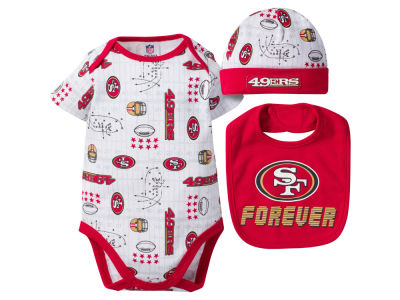 San Francisco 49ers NFL Newborn 3 Pc Set Bodysuit-Bib-Cap