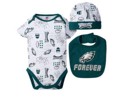 Philadelphia Eagles NFL Newborn 3 Pc Set Bodysuit-Bib-Cap