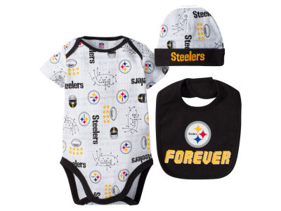 Pittsburgh Steelers Gerber NFL Newborn 3 Pc Set Bodysuit-Bib-Cap