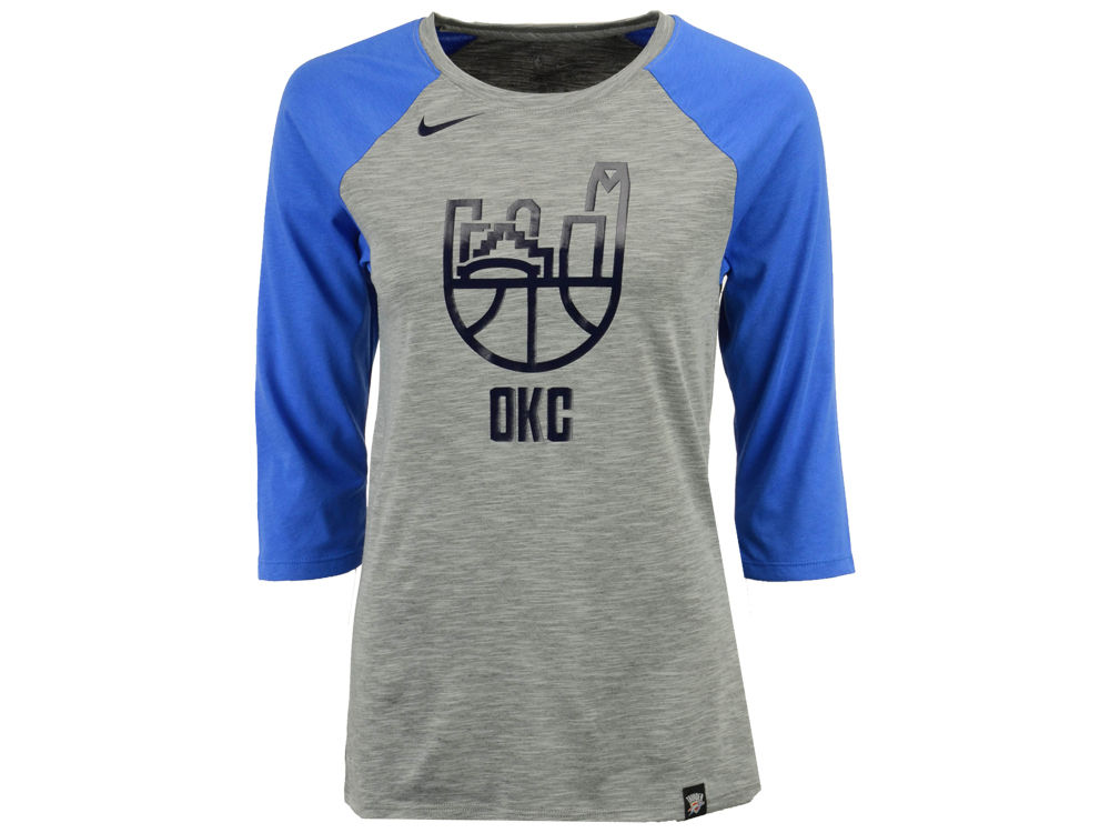 79fdcda2 Oklahoma City Thunder Nike NBA Women's Cityscape Raglan T-Shirt | lids.com