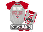Ohio State Buckeyes Outerstuff NCAA Newborn Blitz Creeper, Bib, Bootie Set Outfits