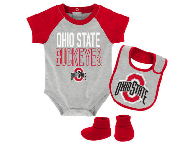 Ohio State Buckeyes NCAA Newborn Blitz Creeper, Bib, Bootie Set