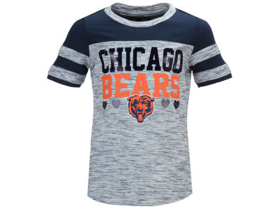 Chicago Bears 5th & Ocean NFL Youth Girls Space Dye Foil Heart T-Shirt