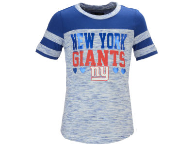 New York Giants 5th & Ocean NFL Youth Girls Space Dye Foil Heart T-Shirt