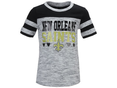 New Orleans Saints 5th & Ocean NFL Youth Girls Space Dye Foil Heart T-Shirt