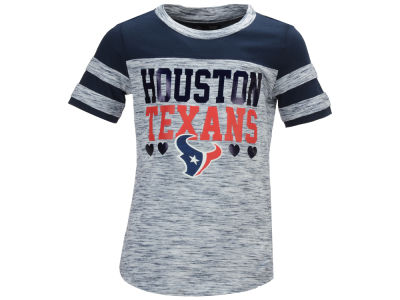 Houston Texans 5th & Ocean NFL Youth Girls Space Dye Foil Heart T-Shirt