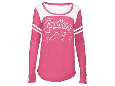 Carolina Panthers 5th & Ocean NFL Youth Girls Pink Slub Long Sleeve T-Shirt