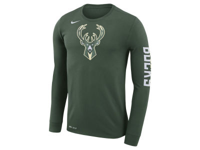 Milwaukee Bucks Nike NBA Men's Dri-FIT Cotton Logo Long Sleeve T-Shirt