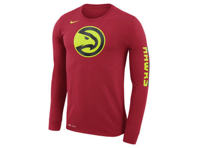 Atlanta Hawks Nike NBA Men's Dri-FIT Cotton Logo Long Sleeve T-Shirt