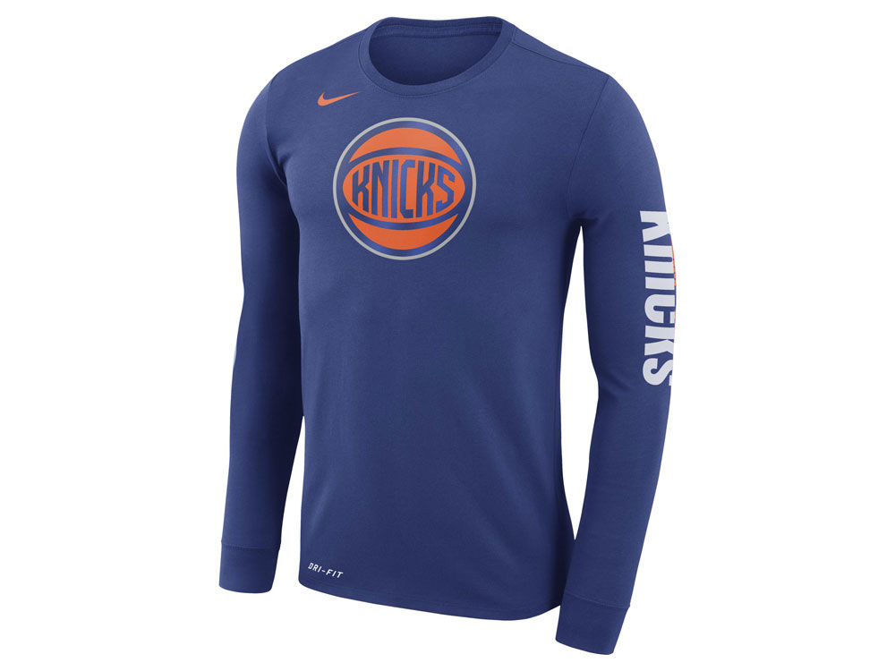 b835c14aa New York Knicks Nike NBA Men s Dri-FIT Cotton Logo Long Sleeve T-Shirt