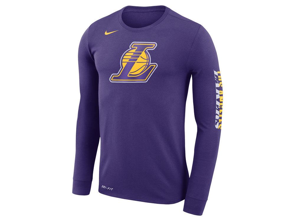 Los Angeles Lakers Nike NBA Men s Dri-FIT Cotton Logo Long Sleeve T-Shirt  ea33bd282