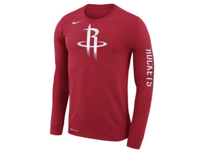 Houston Rockets Nike NBA Men's Dri-FIT Cotton Logo Long Sleeve T-Shirt