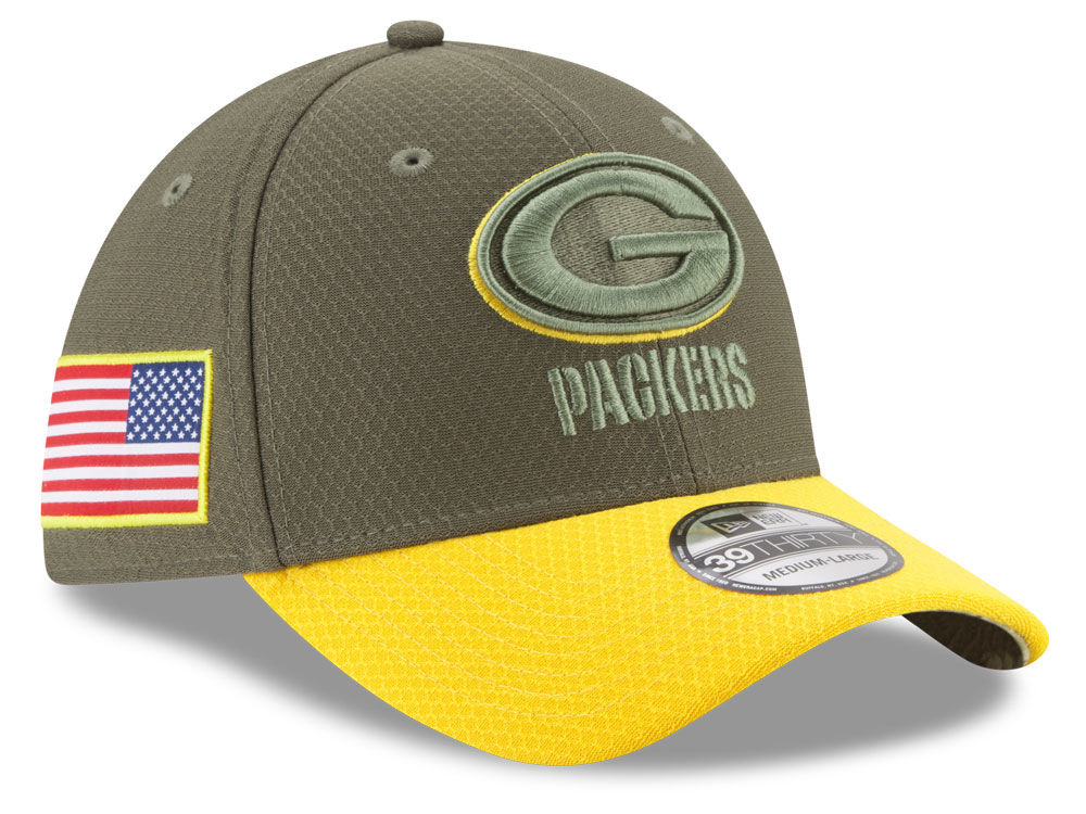Green Bay Packers New Era 2017 NFL Salute To Service 39THIRTY Cap ... c98970ef9