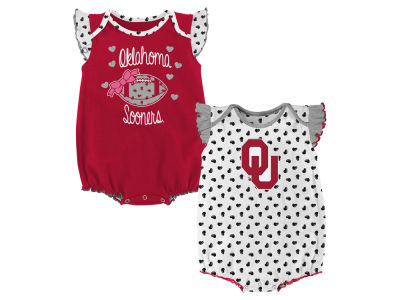 Oklahoma Sooners Outerstuff NCAA Newborn Girls Heart Fan Creeper Set