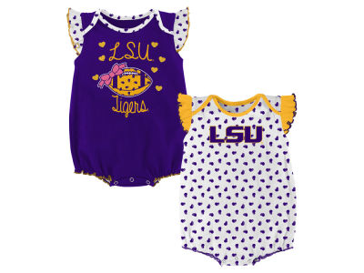 LSU Tigers Outerstuff NCAA Infant Girls Heart Fan Creeper Set