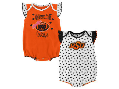 Oklahoma State Cowboys Outerstuff NCAA Infant Girls Heart Fan Creeper Set