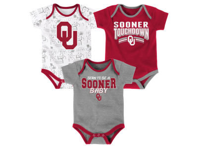 Oklahoma Sooners Outerstuff NCAA Newborn Playermaker 3 Piece Creeper Set