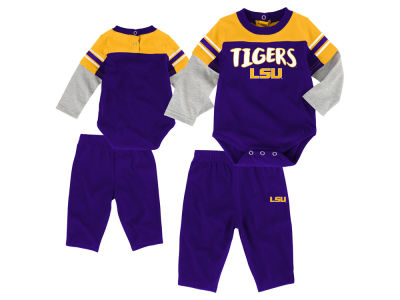 LSU Tigers Outerstuff NCAA Newborn Halfback Creeper Pant Set