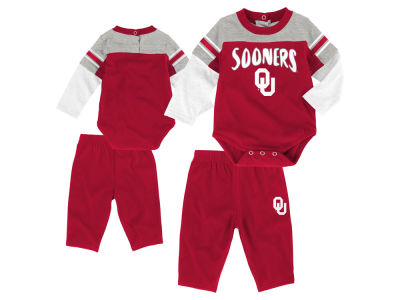 Oklahoma Sooners Outerstuff NCAA Newborn Halfback Creeper Pant Set