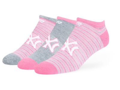 New York Yankees Magenta Coastal No Show Socks - 3pk