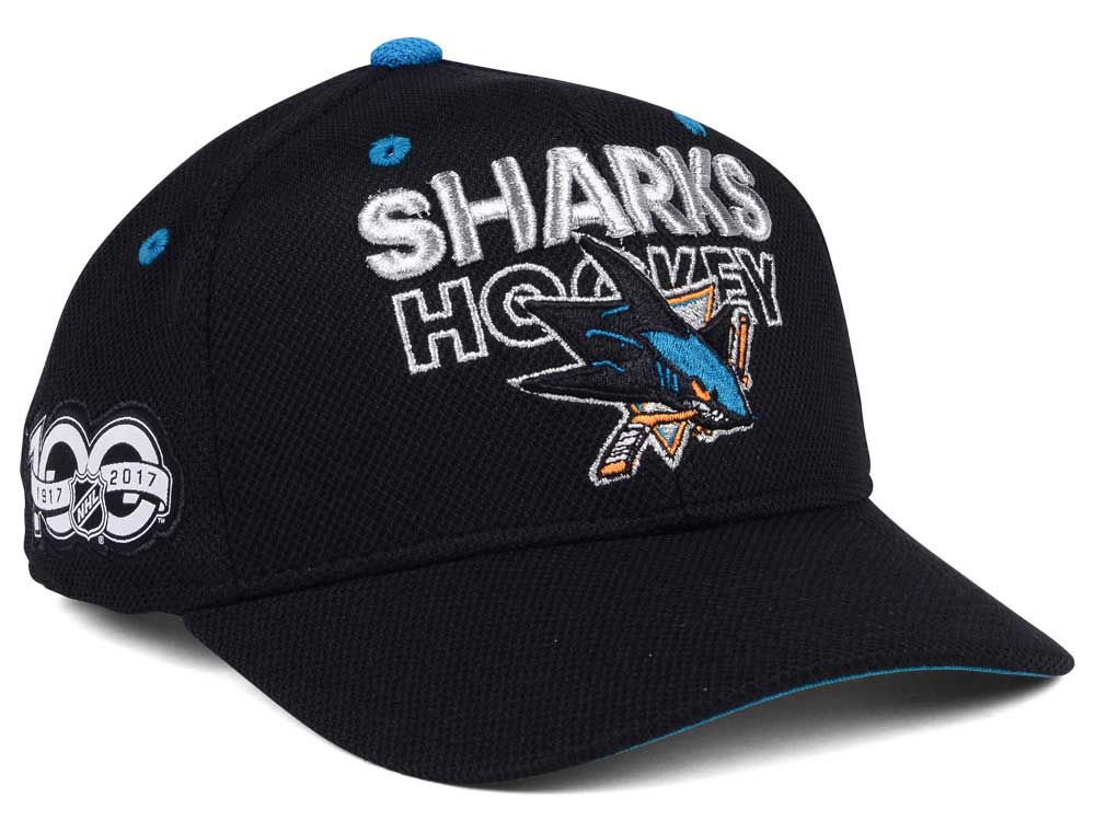 San Jose Sharks adidas NHL 100th Celebration Structured Adjustable Cap  a53873380dee