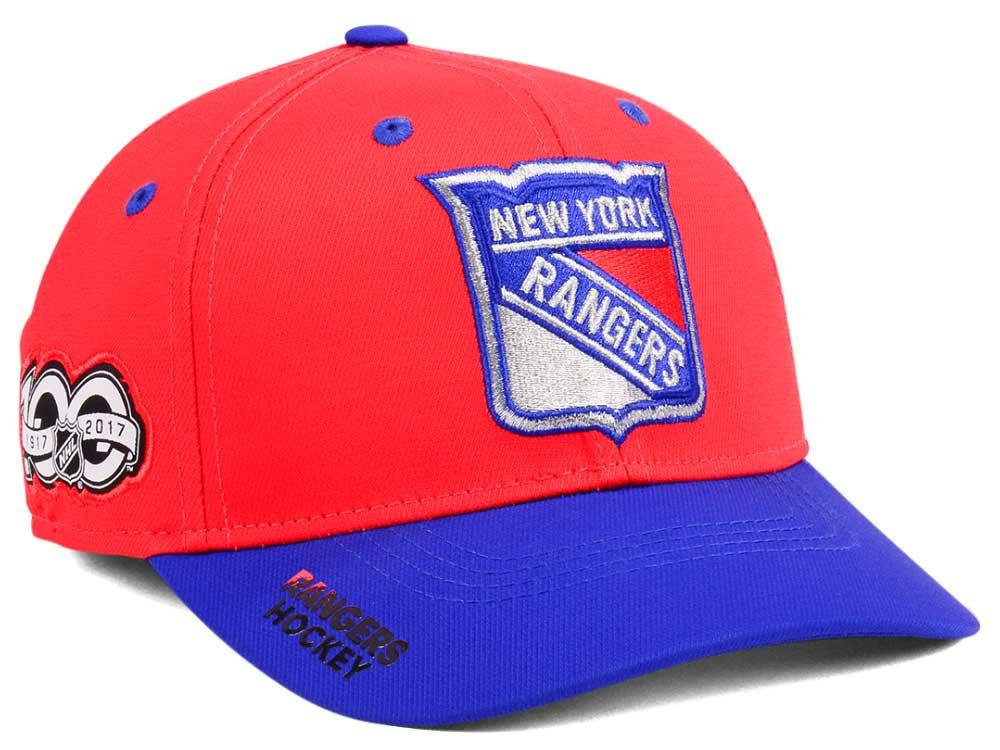 New York Rangers adidas NHL 100th Celebration Structured Flex Cap ... 6f1f5fff0f50