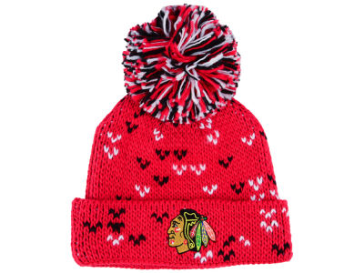 Chicago Blackhawks adidas NHL Women's Cuffed Pom Knit