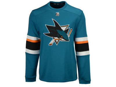 San Jose Sharks adidas NHL Men's Platinum Long Sleeve Jersey T-shirt