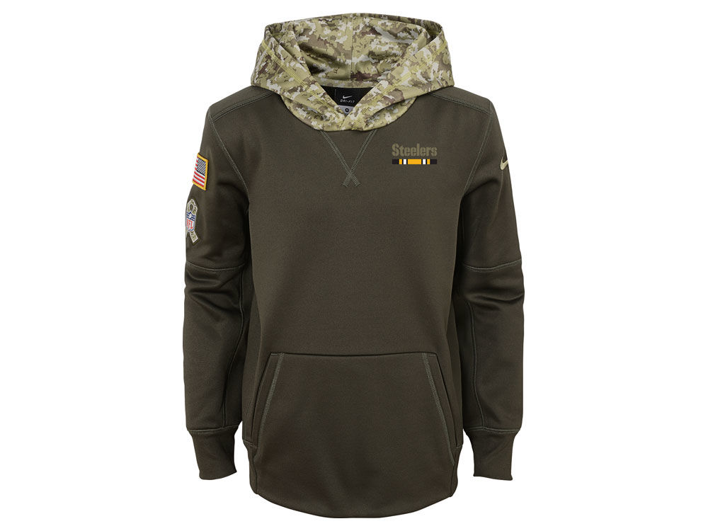 Pittsburgh Steelers Nike NFL Youth Salute To Service Therma Hoodie ... 36ef869b8