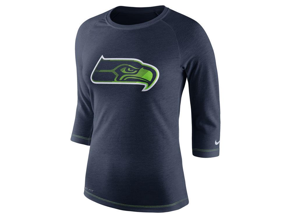 Seattle Seahawks Nike NFL Women s Logo 3 4 Sleeve T-Shirt  db84c2cdda