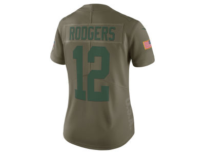 Green Bay Packers Aaron Rodgers Nike 2017 NFL Women's Salute To Service Jersey