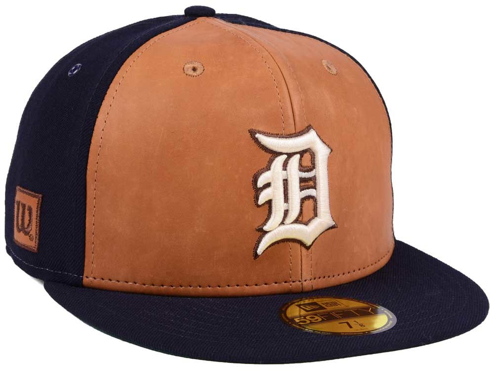 promo code 84f30 63840 ... official detroit tigers new era mlb x wilson leather front 59fifty cap  b30ef c9ee5