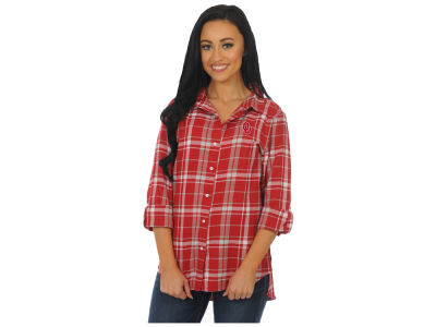 Oklahoma Sooners NCAA Women's Boyfriend Plaid Button Up