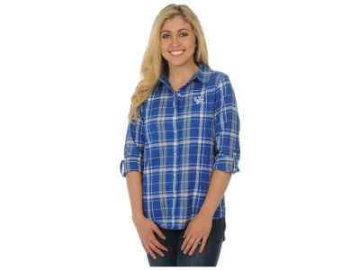 Kentucky Wildcats University Girls NCAA Women's Boyfriend Plaid Button Up
