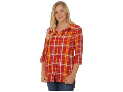 Iowa State Cyclones University Girls NCAA Women's Boyfriend Plaid Button Up