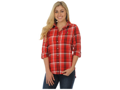 Louisville Cardinals University Girls NCAA Women's Boyfriend Plaid Button Up