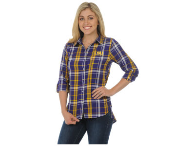 LSU Tigers University Girls NCAA Women's Boyfriend Plaid Button Up