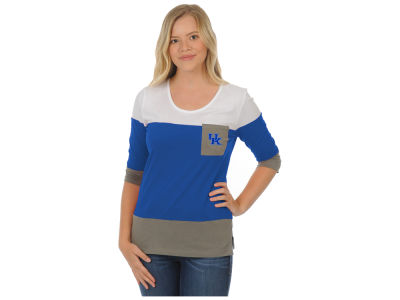 Kentucky Wildcats University Girls NCAA Women's Striped 3/4 Sleeve T-Shirt
