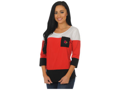 Louisville Cardinals University Girls NCAA Women's Striped 3/4 Sleeve T-Shirt