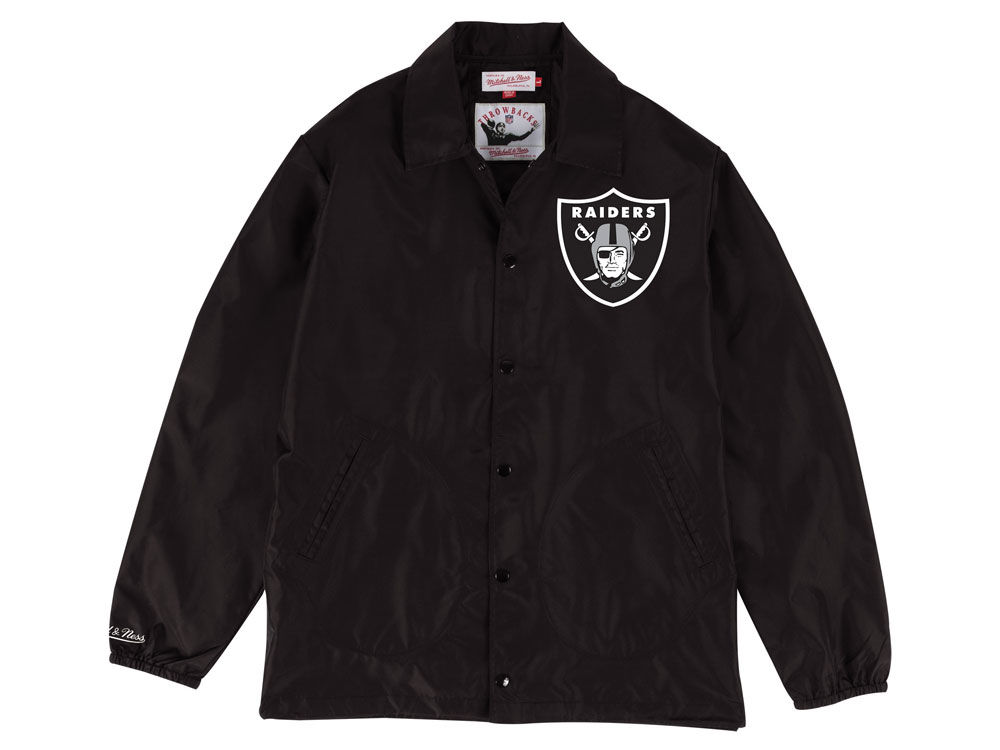 77413afea Oakland Raiders Mitchell   Ness NFL Men s Coaches Nylon Snap Jacket ...