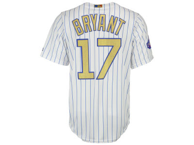 Chicago Cubs Kris Bryant Majestic MLB World Series Gold Replica CB Jersey