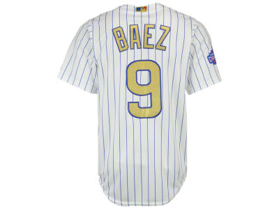 Chicago Cubs Javier Baez Majestic MLB World Series Gold Replica CB Jersey