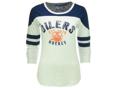 Edmonton Oilers GIII NHL Women's Shoulder Patch Long Sleeve T-Shirt