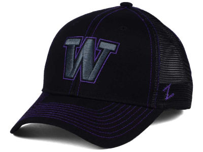Washington Huskies Zephyr NCAA Staple Trucker Blackout Cap