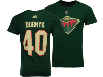 Minnesota Wild Devan Dubnyk adidas NHL Men's Silver Player T-shirt